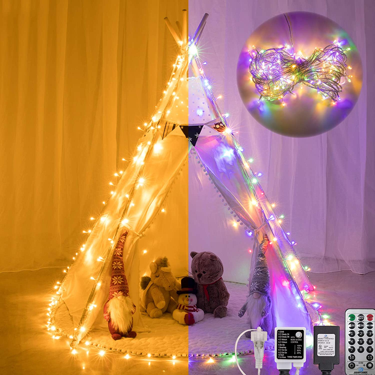 AWQ 66FT 200 LED Christmas Lights Fairy String Lights Plug in 11 Modes Timer Function Waterproof Extendable with Remote Control for Indoor Outdoor Wedding Party Christmas Decor (Warm & Multicolor)