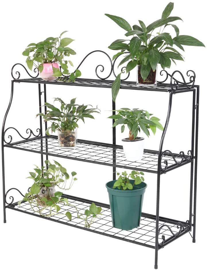 Kshioe 3-Tier Garden Plant Stand Foldable Flower Pot Plant Holder Display Rack Ideal for Indoor & Outdoor