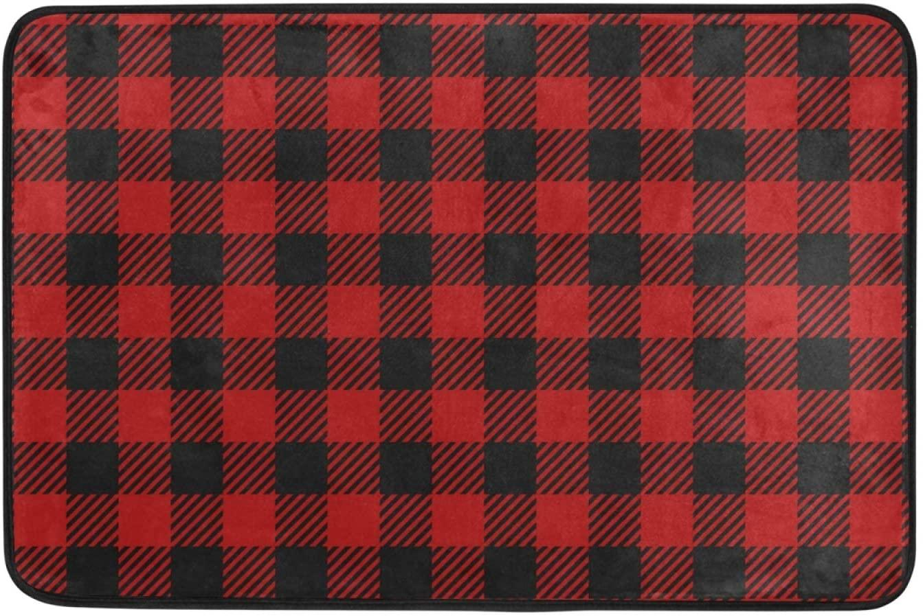 Moudou Christmas Red Plaid Doormat Non Slip Floor Mat Indoor Outdoor Entrance Kitchen Bath Garden Carpet 23.6 x 15.7 Inch