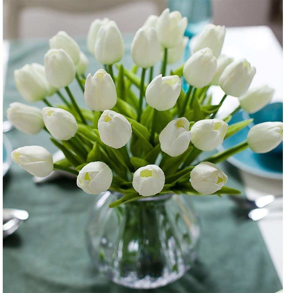 30pcs Real Touch Tulips PU Artificial Flowers, Fake Tulips Flowers for Arrangement Wedding Party Easter Spring Home Dining Room Office Decoration. (White, 14