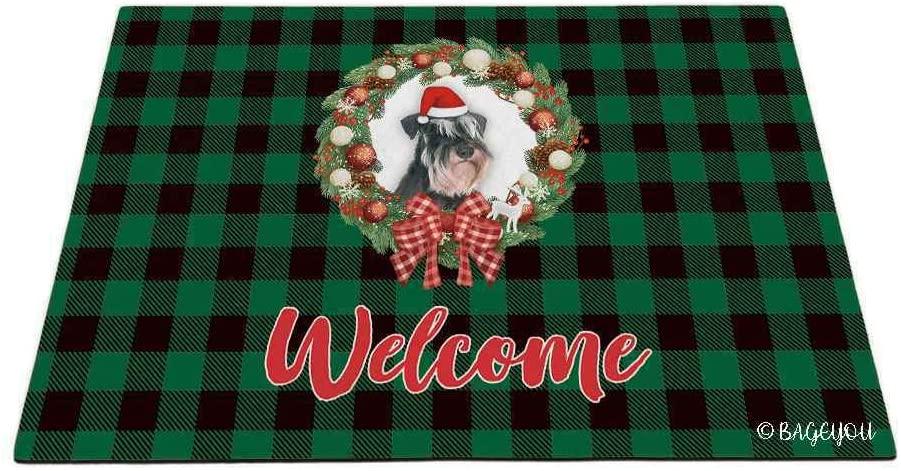 BAGEYOU Merry Christmas with My Beloved Dog Miniature Schnauzer Green Buffalo Check Plaid Outdoor Doormat Winter Holiday Wreath Decorative Seasonal Decor Porch Rugs Floor Mat 27.5