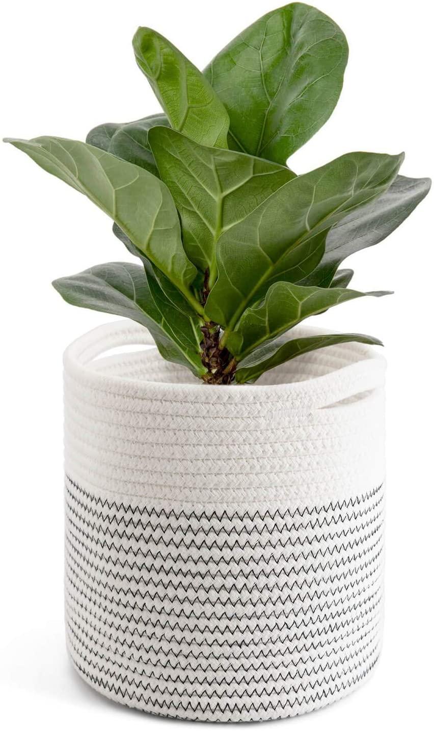"TIMEYARD Cotton Rope Plant Basket Modern Woven Basket up to 7.5 Inch Flower Pot Floor Indoor Planters, 8"" x 8"" Storage Organizer Basket Rustic Home Décor"