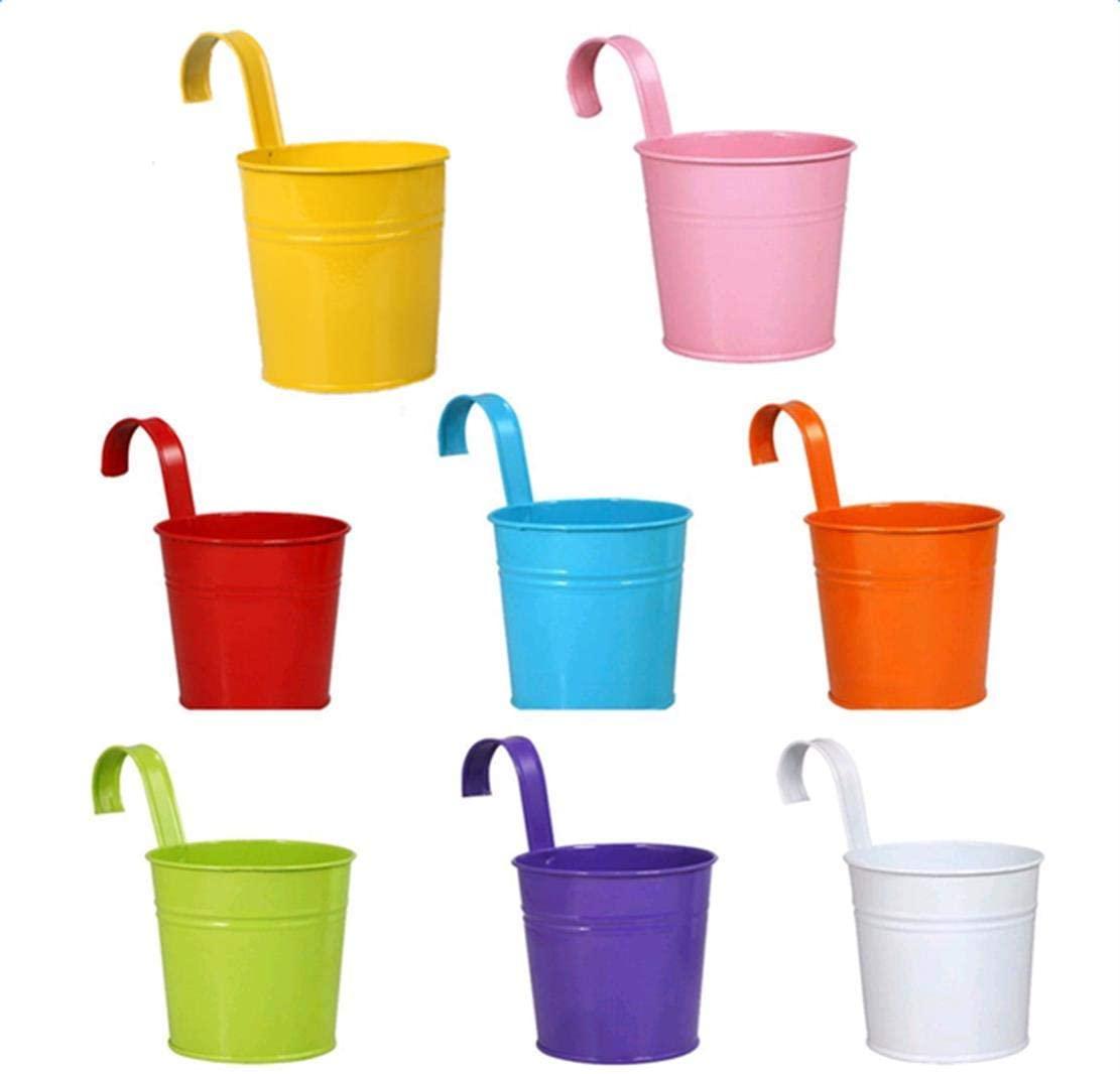 RedSuns 5pcs Colorful Plant pots with Hook Plastic Flower Pot pots for Plants for All House Plants Succulents Flowers and Cactus
