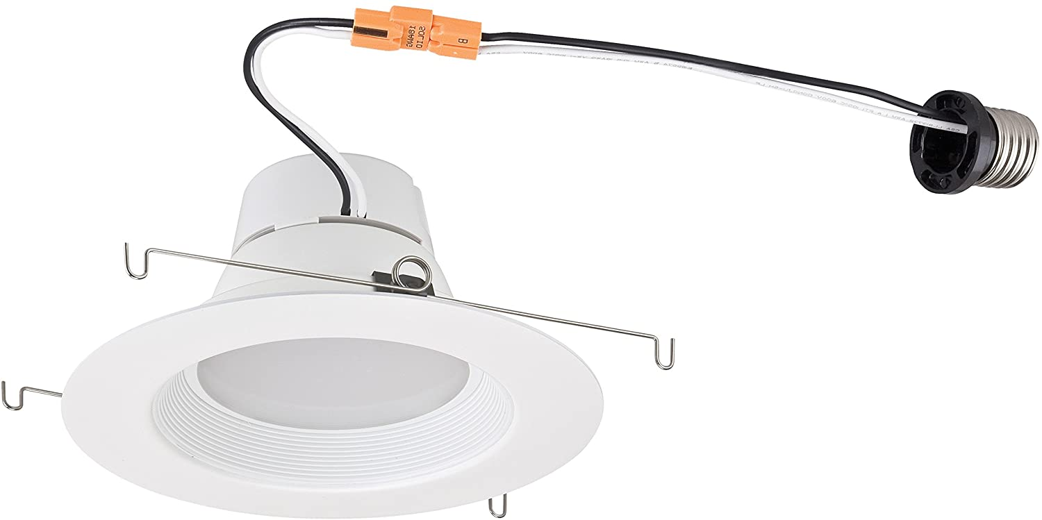 Westinghouse Lighting 3104800 Dimmable Energy Star Recessed LED Downlight with Medium Base Socket Adapter, 12W/5-6