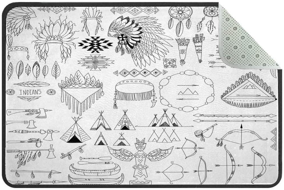 Tribal Elements Native American Doormat Rug Easy to Clean Non Slip Backing Entry Way Doormat Floor Mat for Patio Front Door Entry Garage Kitchen Bathroom Laundry Room All Weather Indoor/Outdoor