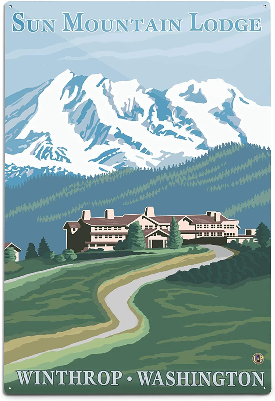 Lantern Press Sun Mountain Lodge View (12x18 Aluminum Wall Sign, Wall Decor Ready to Hang)