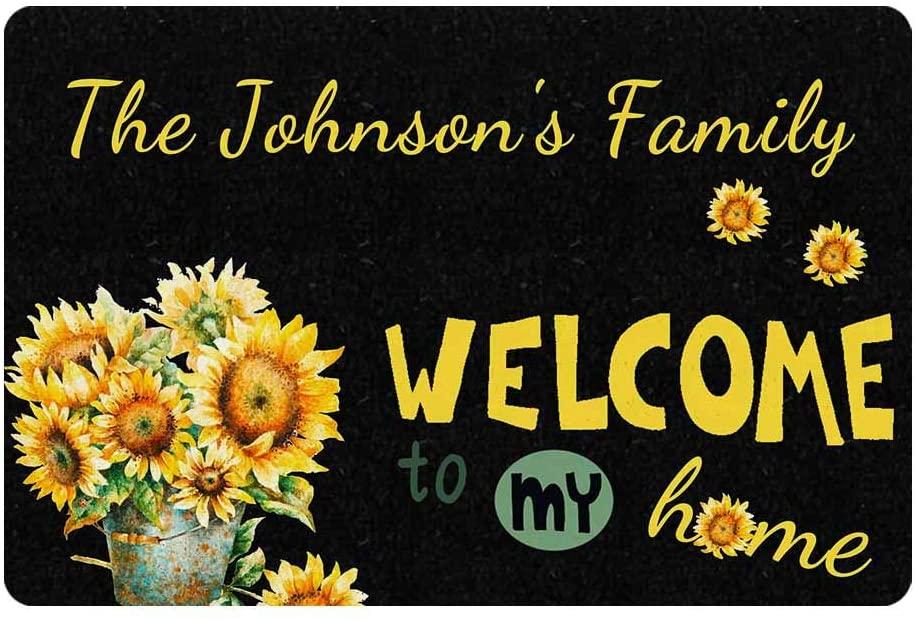 Custom Door Mat, Personalized Rug Sunflowers on Black Board Welcome To My Home Name Doormat Door Mat Floor Rug Indoor Outdoor Front Entrance Bathroom Living Room Non Slip Decor 24x16 Inches