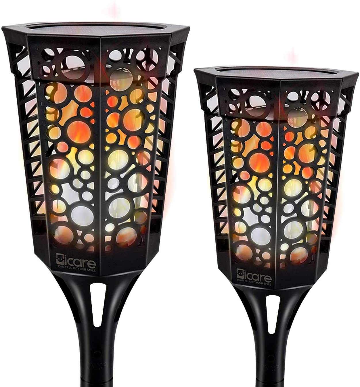 Solar Flame Torches, Led Solar Path Torch Light Dancing Flame, Flickering Flame Solar Torch with 99 LEDs Tiki Torches Lights IP65 Waterproof Outdoor Torch Light Auto On/Off by ICARE(2 Pack)