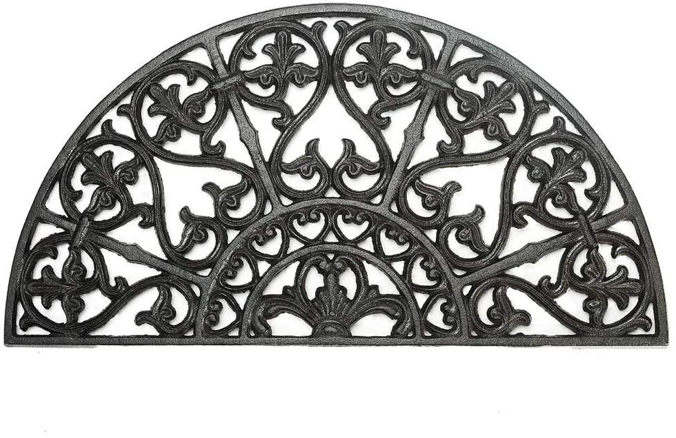 Sungmor Heavy Duty Cast Iron Doormat - Vintage & Beautiful Vine Design & 62CM/24.4INCH Large Semicircle Front Door Mat - Non-Slip Outside Mat Shoe Scraper - Decorative Entrance Mats