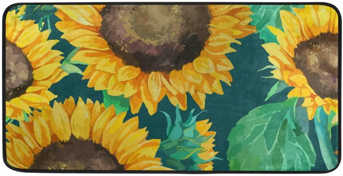 CiCily Doormat Area Rug Mat Cute Sunflowers for Bedroom Front Door Kitchen Indoors Home Decors