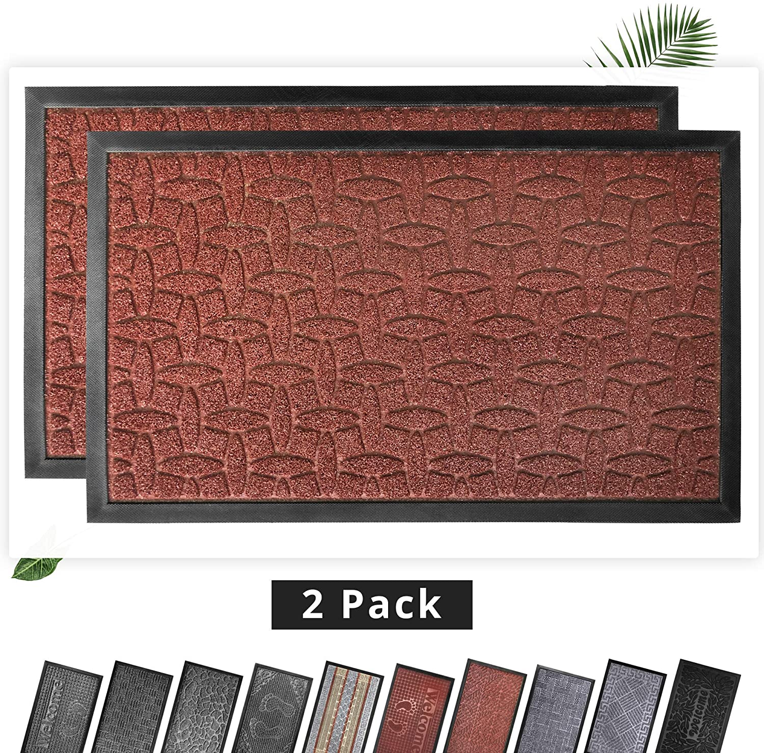 EZHOMEE Outdoor Rubber Welcome Door Mat(29.5x17.7), Durable and Non-Slip, Heavy Duty, Entry Floor Mats for Front Door, Entrance, Patio, Porch, High Traffic Areas for Dog Paw, Brown Geometry, 2 Pack