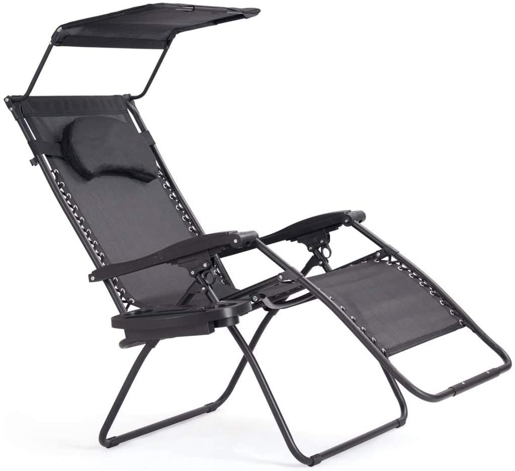 Zero Gravity Chair with Shade Canopy, Recliner for Patio, Pool Garden Indoor and Outdoor, Folding Lounge Chair with Cup Holder (Gray)