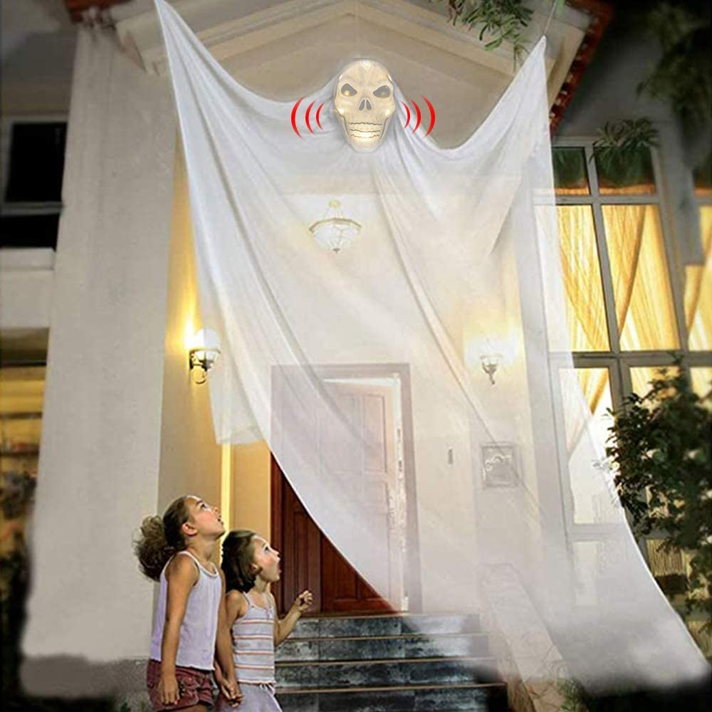 JHION Halloween Hanging Ghost Decorations, Scary Hanging Grim Reaper Motion Voice Activated with Creepy Sound & Glowing Mask for Halloween Party Bedroom Indoor/Outdoor Yard Decor
