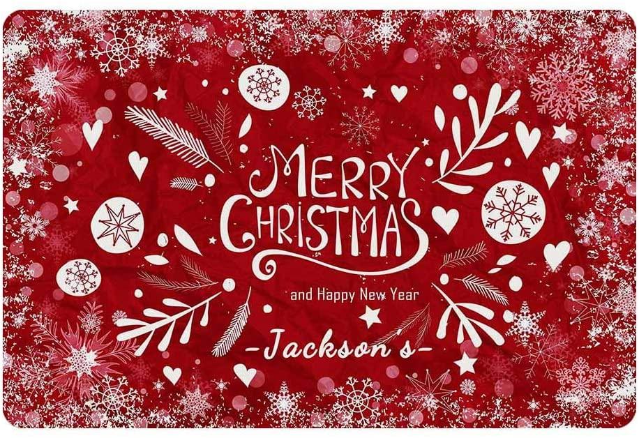Welcome Doormat with You Text, Custom You Own Doormat Christmas Happy New Year Funny Carpet 24 X 16 Outdoor doormats Indoor Home Doormat Garden Bathroom Living Room Rubber Mat