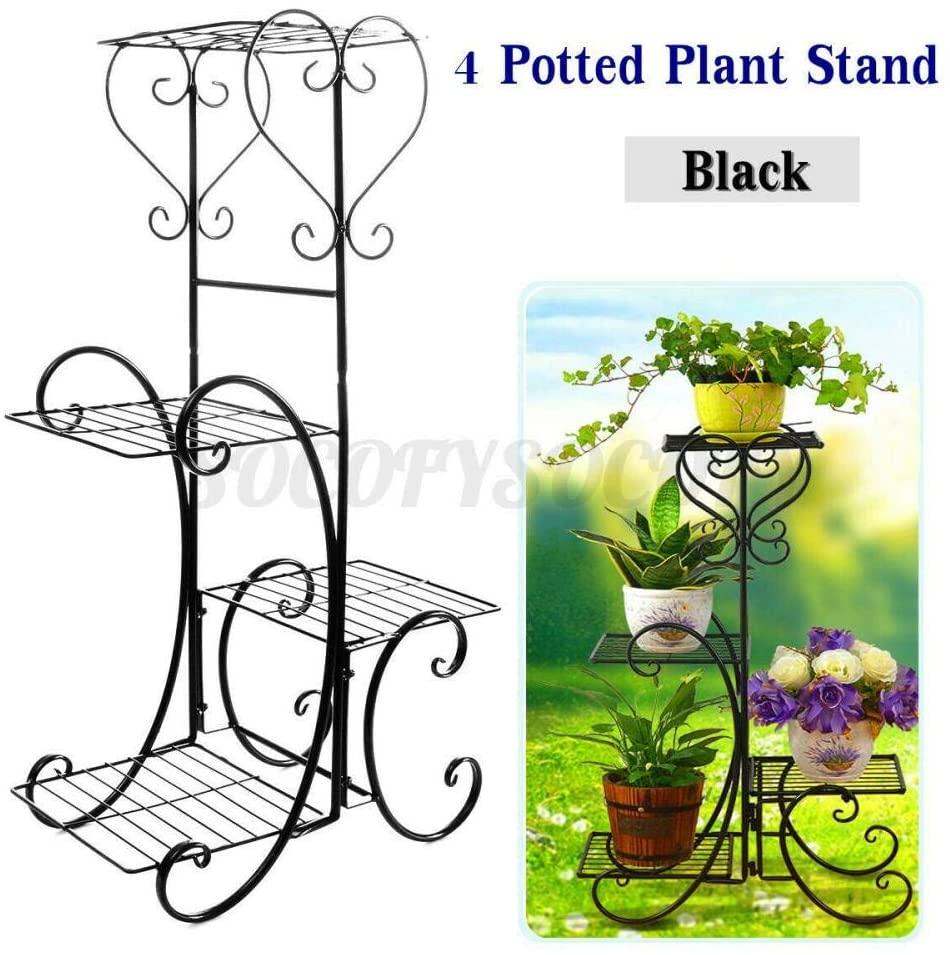 Metal Plant Stand 4 Tier Metal Flower Pot Rack Plant Display Stand Shelf Holder Garden Decor