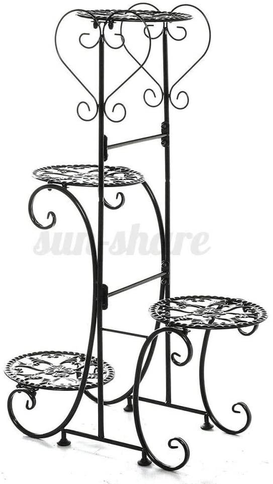 4 Tier Metal Plant Stand Flower Pot Holder Shelf Rack Display Garden Office,Black Round Racks