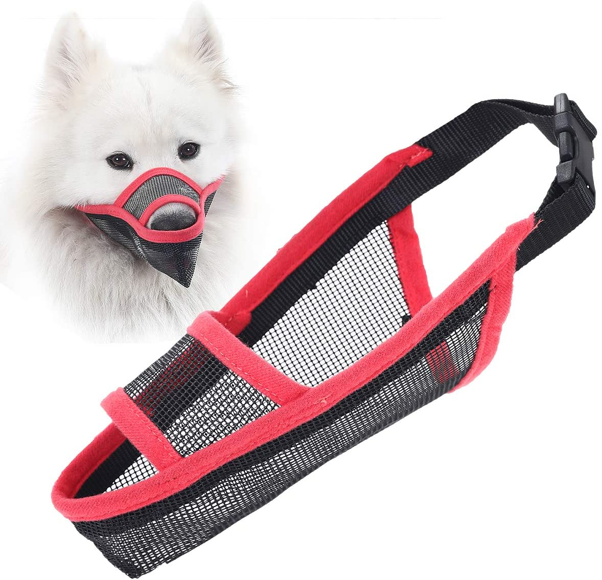 LUCKYPAW Nylon Dog Muzzle for Small Medium Large Dogs, Air Mesh Breathable and Drinkable Pet Muzzle for Anti-Biting Anti-Barking Licking