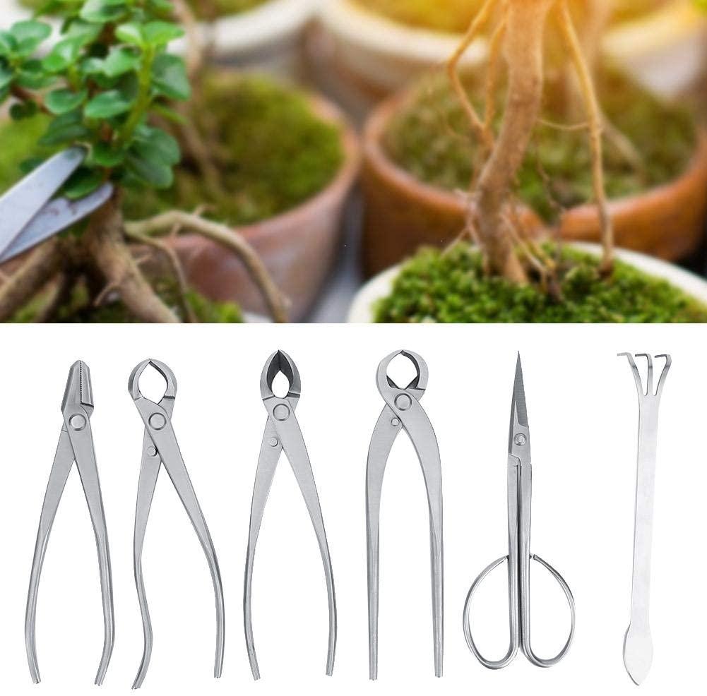Qinlorgo Garden Bonsai Tool Set, 6pcs Bonsai Garden Plant Tree Scissors Trimming Cutting Tool Set with Storage Bag