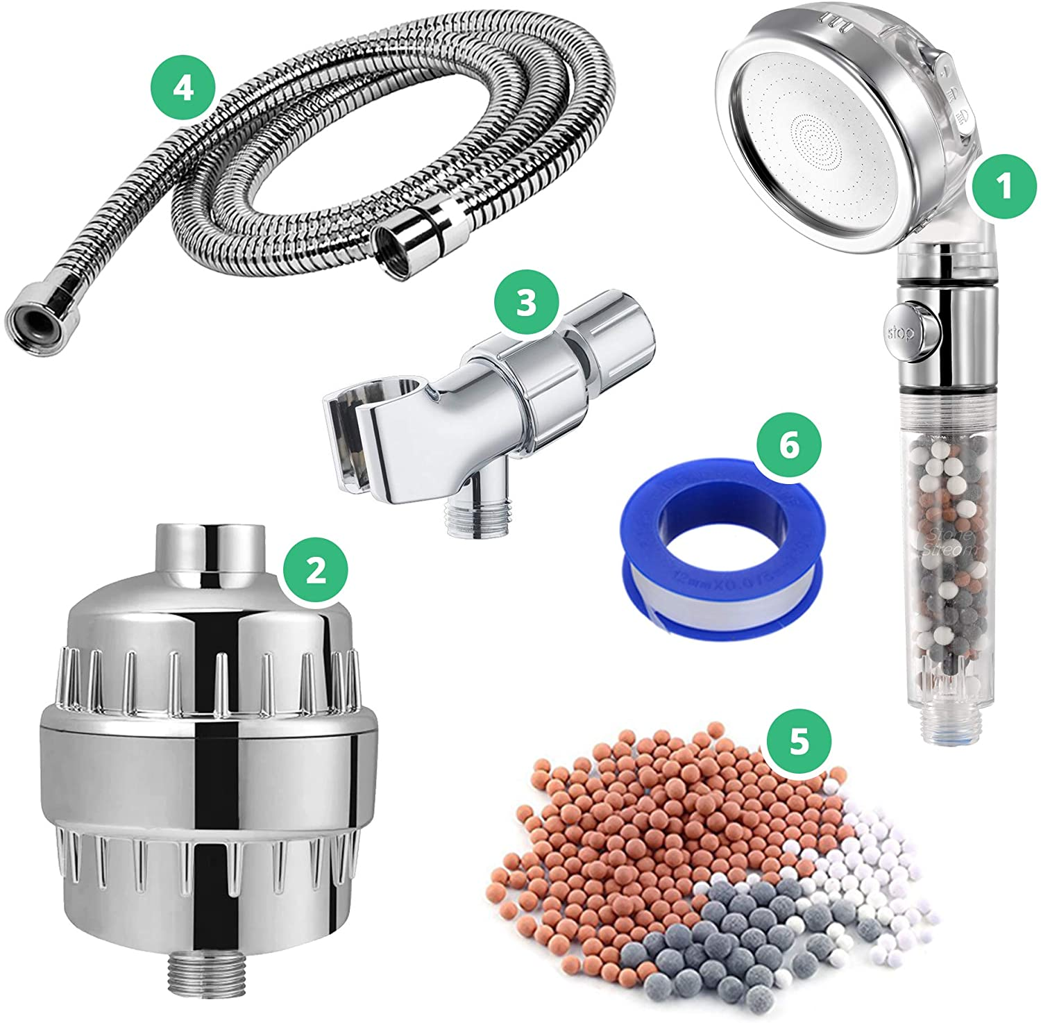 StoneStream EcoPower Shower Head System — Spa Like Ionic Filter to Soften Water, Increase Pressure & Save Water — Multi Function Showerhead + Hard Water Filtration + Adapter Kit