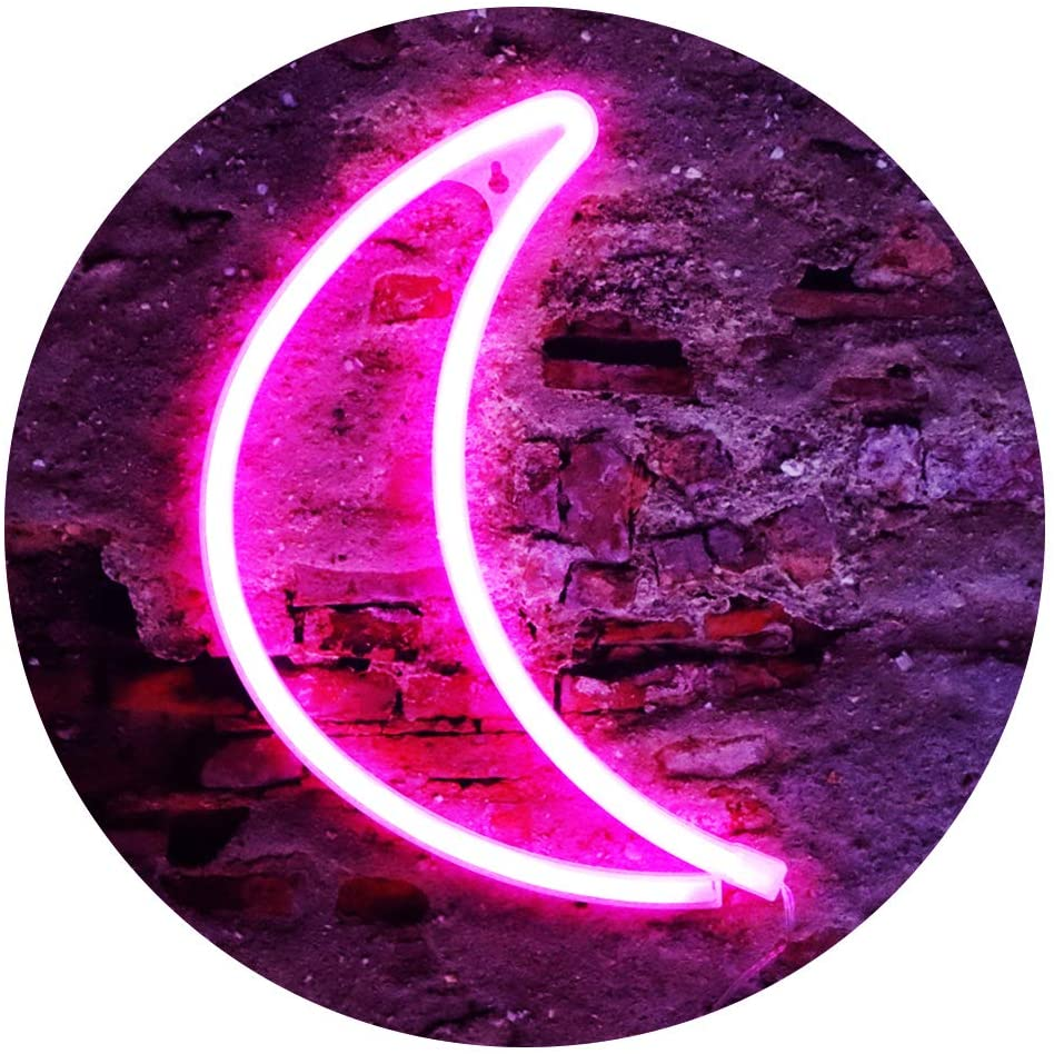 LED Neon Moon Lights, Moon Shape Neon Signs Crescent Night Lights Battery Operated Desk Table Lamp for Bedroom, Bar, Pub, Wall Decor-Moon(Pink)