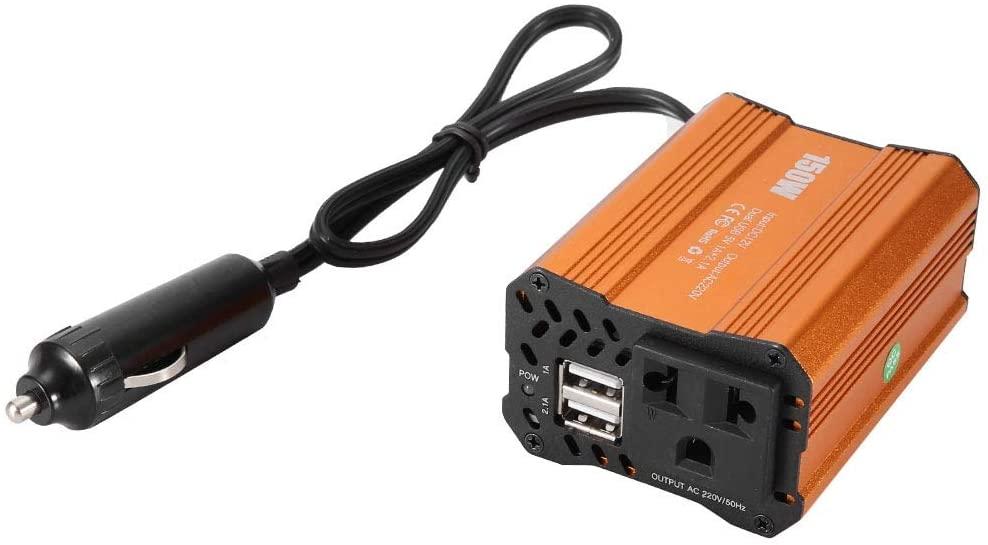 Suuonee Car Power Inverter,150W Car Power Inverter Converter DC 12V to AC 220V Adapter Dual USB Charging Port