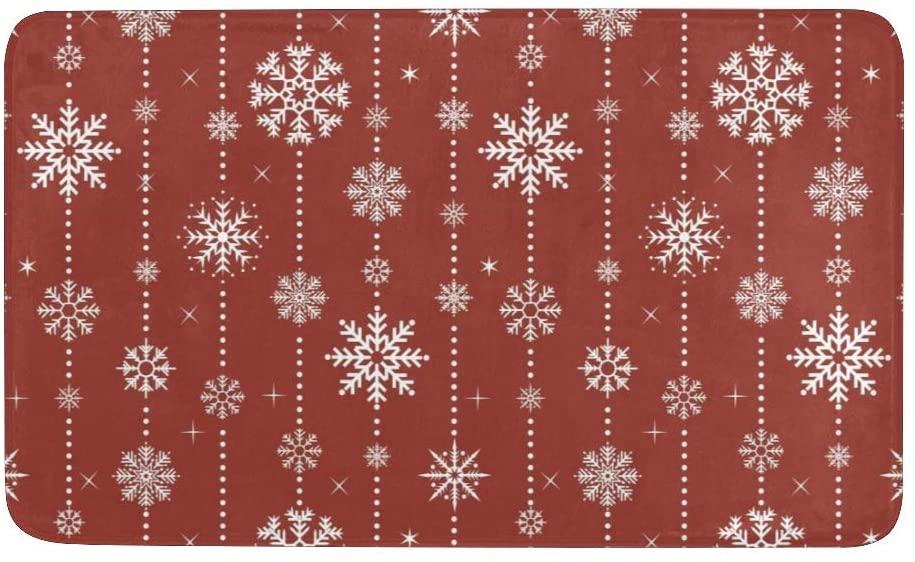 CUXWEOT Christmas Snowflake Door mat Entrance Door Rugs Non-Slip Backing Ultra Absorbent Welcome Doormat Decor Office Garden Kitchen Mats 23.6 x 15.7 Inch