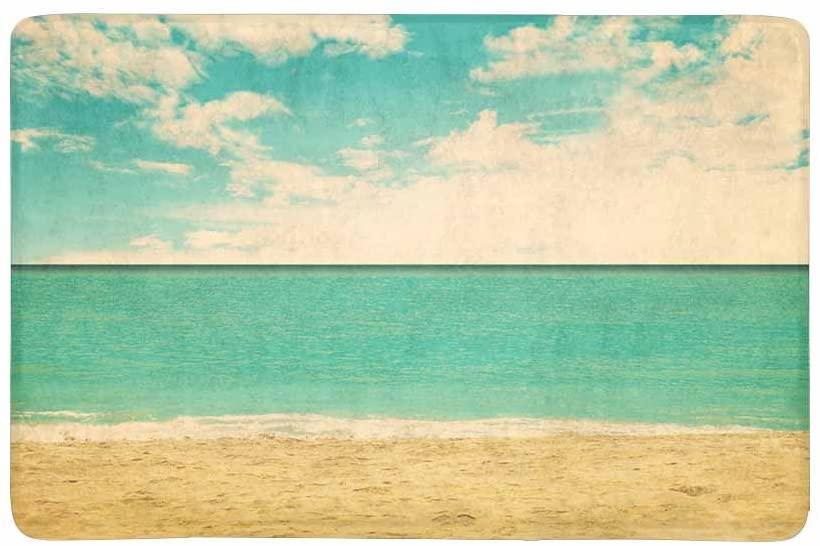 InterestPrint Retro Tropical Beach Summer Ocean on Sunny Day Doormat Non Slip Indoor/Outdoor Floor Mat Home Decor, Entrance Rug Rubber Backing 23.6(L) x 15.7(W)