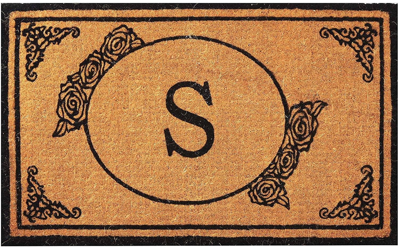 Envelor Home and Garden Handwoven, Customized Monogram Extra Thick Doormat, Outdoor Rugs Durable Coir, Outdoor Doormat, Welcome Mat Entryway Door Mat For Patio, Coir Doormat (18 x 30, Monogram S)
