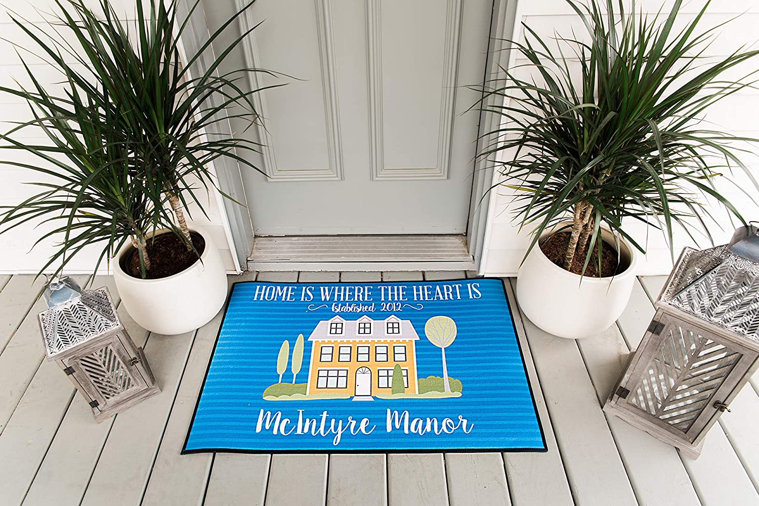 Customized Non-Slip Large Doormat for Front Door, Outdoor and Indoor Personalized Rug, Home Decoration, Wedding, Anniversary, and Housewarming Gift (McIntyre Design, 36 x 24)