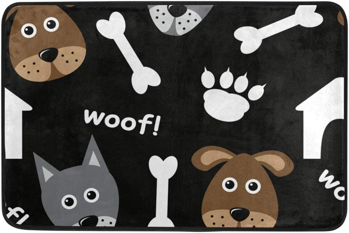 Wamika Funny Dog Decorative Doormat Non Slip Washable Puppies Bone Paw Woof Welcome Indoor Outdoor Entrance Bathroom Floor Mats Pets Cat Dog Mat Home Decor, 23.6 x 15.7 inch