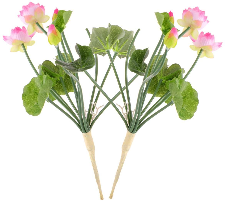 BESTOYARD 2 Pcs Artificial Lotus Flowers Water Lily Flowers Plants Floral Greenery Stems Fake Flowers Arrangement for Home Party Wedding Decoration Dark Pink