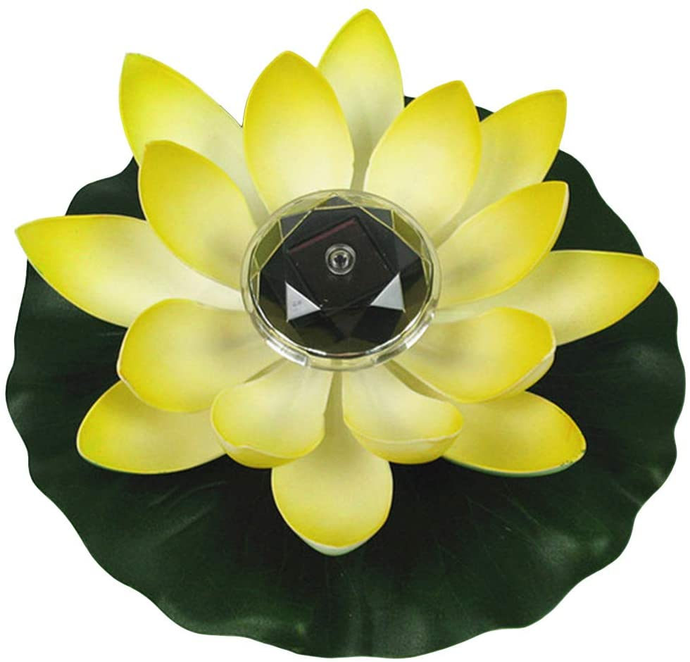 SOONHUA Solar Powered Pond Pool Light, Waterproof Floating LED Lotus Light Pond Pool Garden Decoration