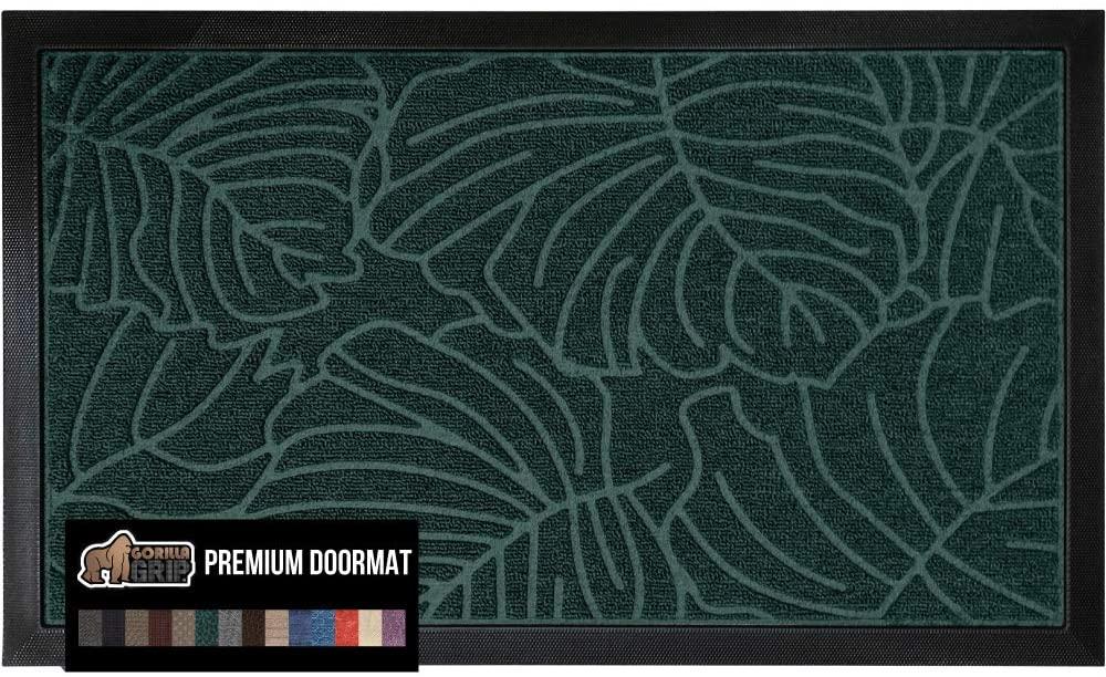 Gorilla Grip Original Durable Natural Rubber Door Mat, 23x35 Heavy Duty Doormat for Indoor Outdoor Waterproof Easy Clean Low-Profile Rug Mats for Winter Snow Entry Patio High Traffic Areas, Green Palm