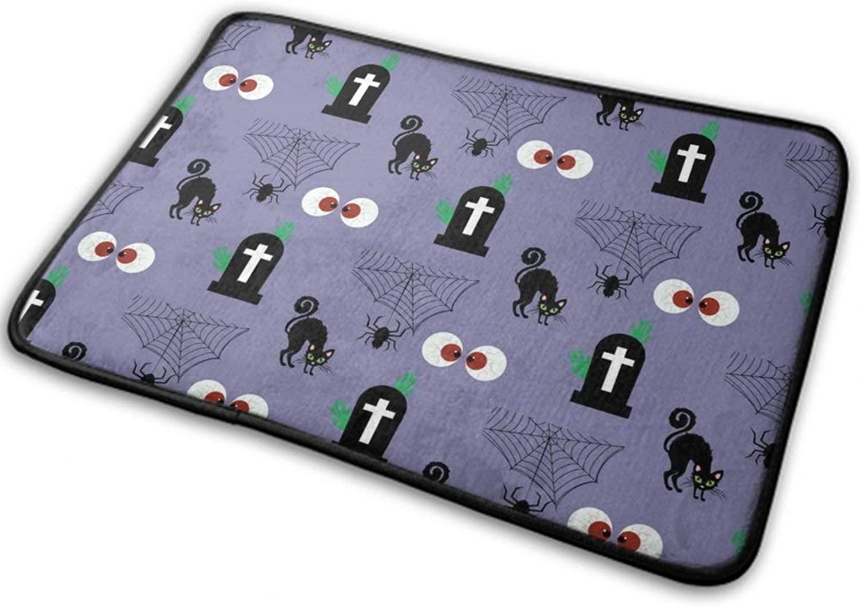 NiYoung Halloween Front Door Mat Outdoor Rugs (40cmx60cm) Fashion Ultra Soft Flannel - Spider Web Cross Black Cats