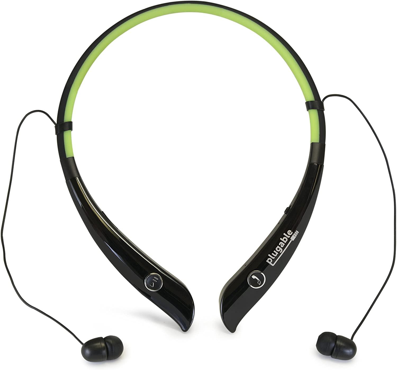 Plugable Bluetooth Headphones - Sports Headphones with Flexible Neckband, Built-in Mic, Stero Quality, Audio EQ, in-Ear Headphones