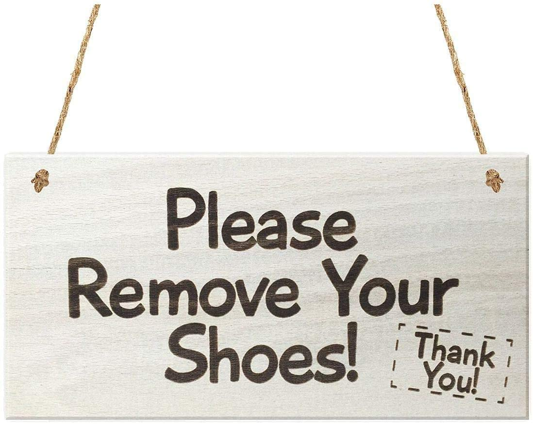 POWERMAZ Please Remove Your Shoes Thank You Wall Hanging Wood Sign for Crafting Wooden Door Plaque Gifts 10