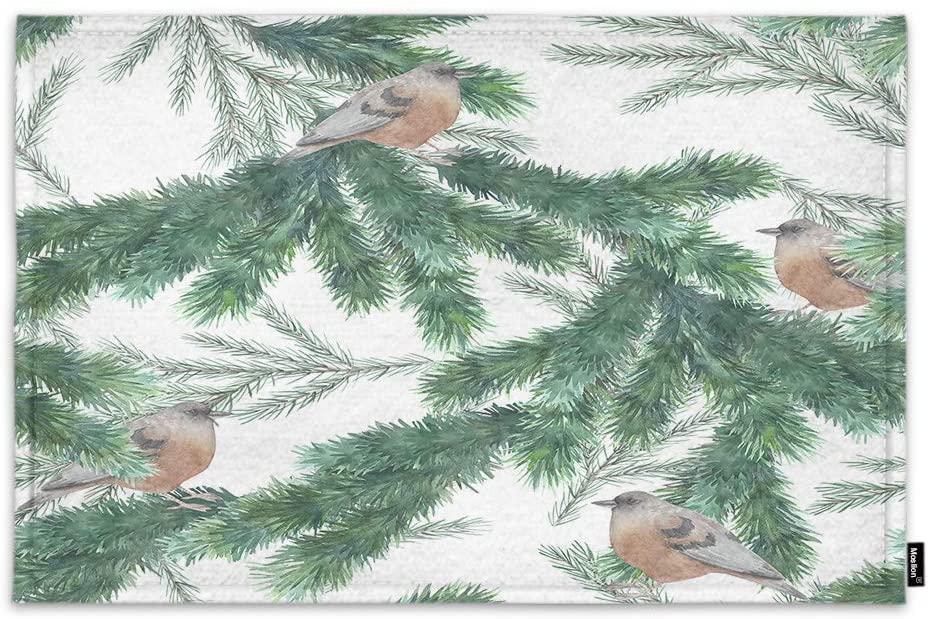 Moslion Robin On The Christmas Tree Door Mat Green Leaves Branch Little Bird Adorable Animal Non Slip Funny Doormat for Outdoor Indoor Decor Entry Rug Kitchen Bedroom Mat 15.7 x 23.6 Inch