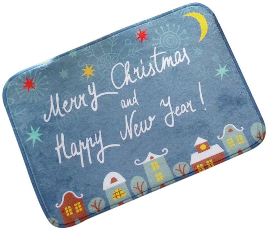 ChezMax Non-Slip Doormat Coral Fleece Indoor Outdoor Kitchen Floor Rug Front Door Mat Funny Flannel Carpet Christmas Theme 31