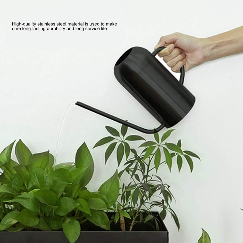 Mini Plant Watering Can Indoor, 1.5L Black Stainless Steel Long Spout Watering Pot for Garden Flowers Plants Irrigation Tool for Succulents, Bonsai or Herb Gardens