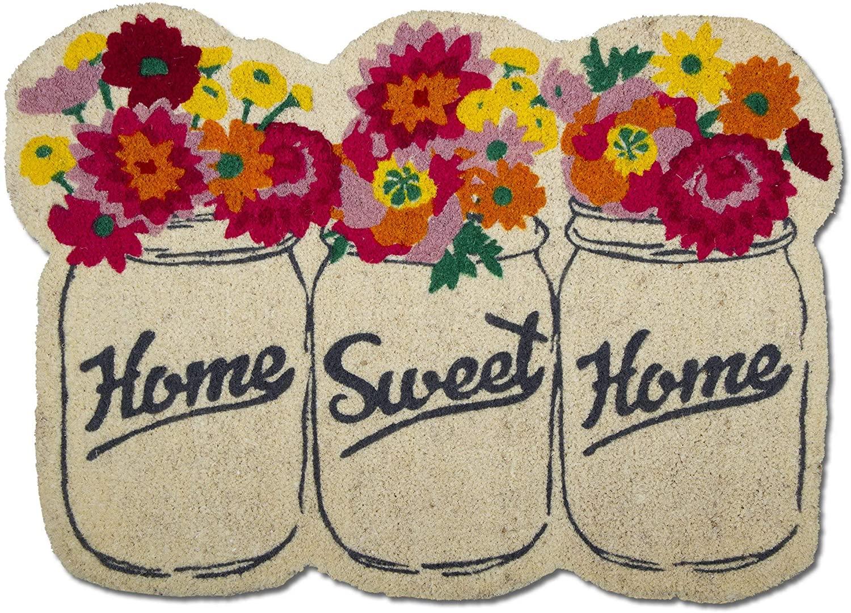 Tag Mason Jar Shape Coir Doormat Indoor Outdoor Welcome Mat 16 x 26 Multicolored