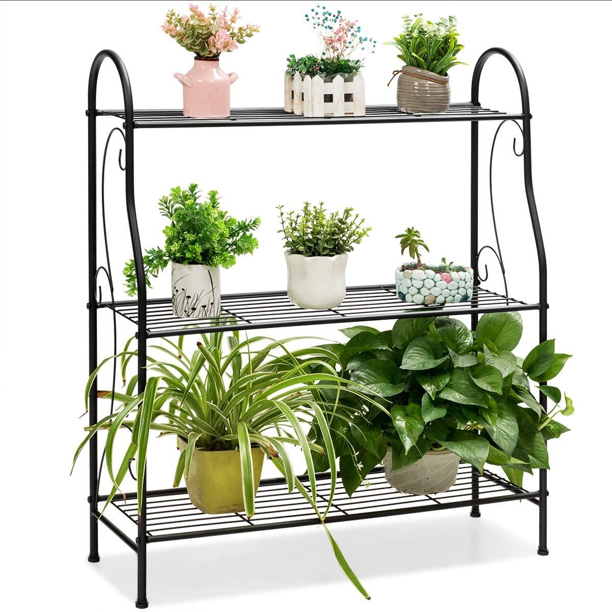 Giantex 3-Tier Metal Plant Stand, Scrollwork Design, Indoor & Outdoor Flower Rack, Multifunctional Home Storage Organizer Shelf, Pot Holder with Built-in Handles (Black)