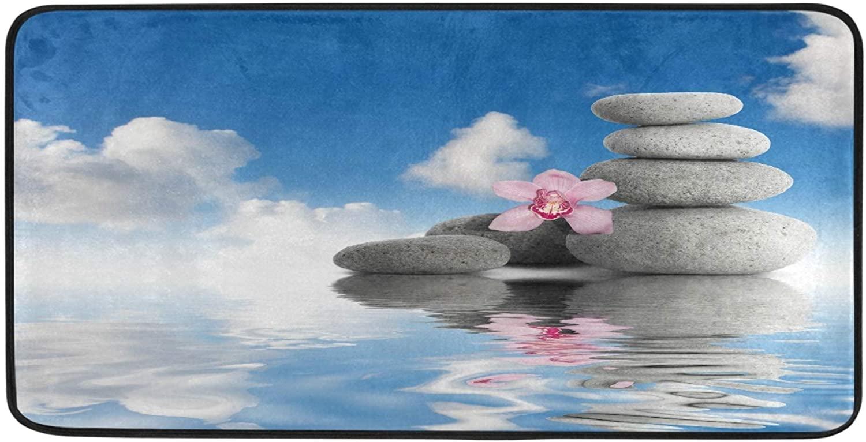 Ombra Kitchen Floor Mat Stone Hibiscus Flower Zen Peaceful Garden Non Slip Absorbent Runner Rugs Doormat for Entryway Entrance Bathroom Garage Home Decor Indoor Outdoor 39