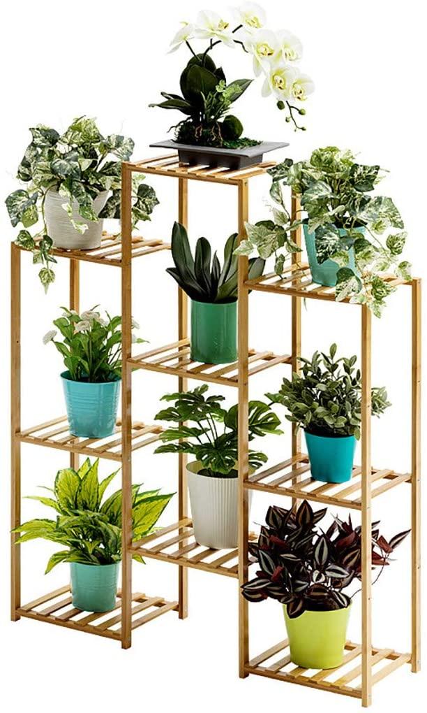 Miskoo Multi-Tier Bamboo Plant Stand Planter Rack Art Display Stand Flower Pots Holder Display Indoor Outdoor Garden Courtyard US Stock