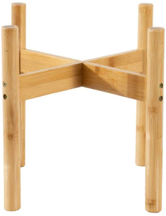 1PC Dndo Plant Stand Flower Pot Holder, Mid Century Modern Indoor Bamboo Plant Holder, Display Rack with Non-Slip Mat for House Plants, Home Decor, 7.9 Inches High