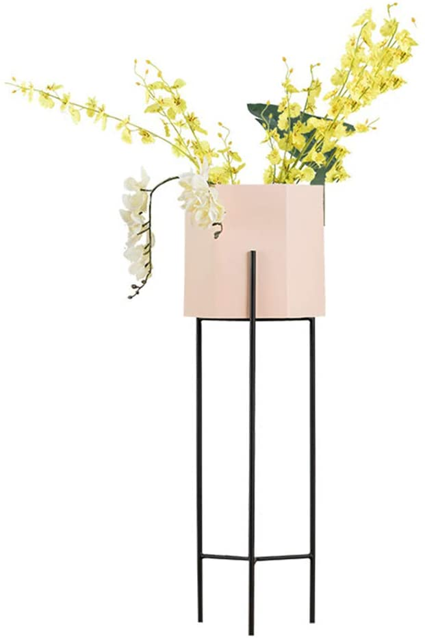 Flower Pot Stand Plant Stand Flower Rack Stand Flower Pot Display Stand-European Wrought Iron Multi-Layer Floor Balcony Flower Stand LEBAO (Color : Pink, Size : 60cm)