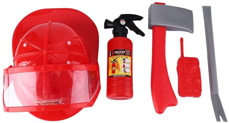 VGEBY1 Outdoor Children Cosplay Toys, Lovely Fashion Children Firefighter Fireman Cosplay Toys Intelligence Training Kit Helmet Fire Extinguisher Intercom Axe Wrench