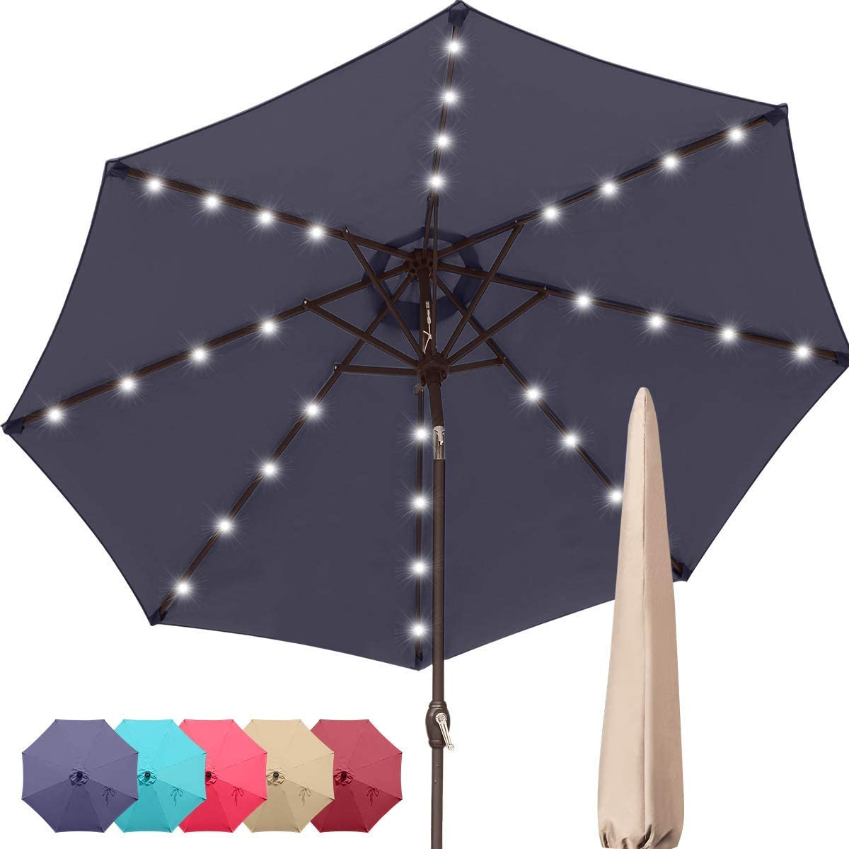 Quictent 9Ft Patio Umbrella 32 Solar LED Lighted Outdoor Garden Table Canopy Market Umbrella Pool Backyard with Ventilation 3 Years Non-Fading Top 8 Ribs 240G Yarn-Dyed Fabric (Navy Blue)…