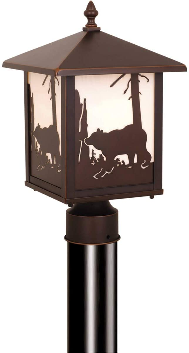 Vaxcel OP35085BBZ Yellowstone - One Light Outdoor Post Lantern, Burnished Bronze Finish with White Tiffany Glass