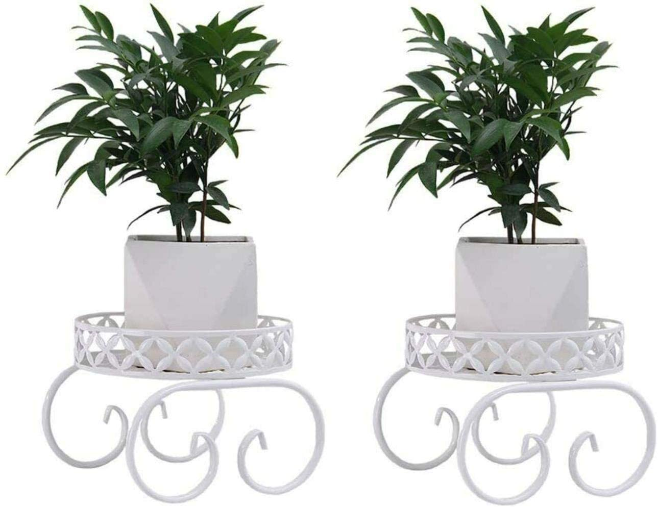 Metal Plant Stand Plant Stand Indoor Outdoor Metal Flower Pot Rack, White - 2 Package
