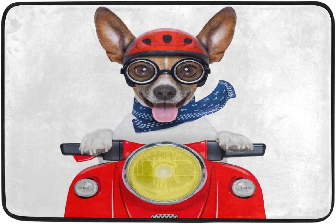 Wamika Funny Dog Decorative Doormat Non Slip Washable Funny Happy Motorbike Dog with Helmet Welcome Indoor Outdoor Entrance Bathroom Floor Mats Pets Cat Dog Mat Home Decor, 23.6 x 15.7 inch